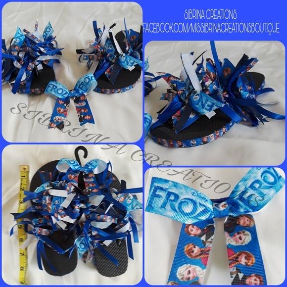 9bce8f5355d944 Frozen Hair Bow matching Flip Flops Shoes Girls